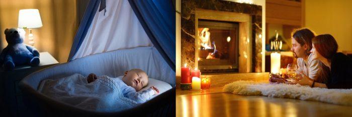 Младенец спит в кроватке; муж и жена лежат у камина с бокалами