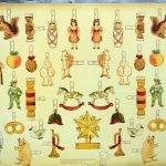Изображены фигурки для вырезания из книги «Ёлка: старинная забава»