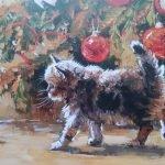 Маленький котёнок возле новогоднеё ёлки из книги «Ёлка, кот и Новый год»