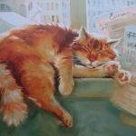 Спящий рыжий кот из книги «Ёлка, кот и Новый год»