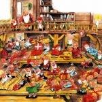 Изображены гномы и Санта-Клаус