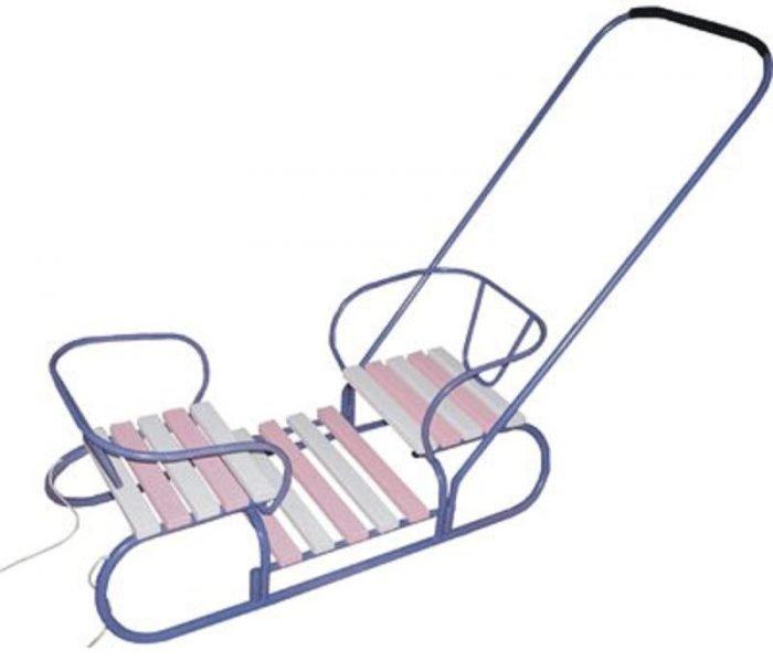двухместные санки с сиденьями друг против друга