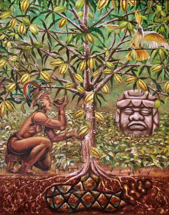 Древний индеец держит плод какао, сидя рядом с деревом