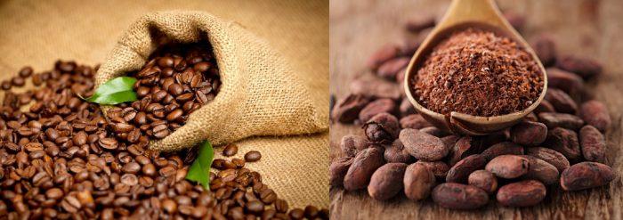 Зёрна кофе; бобы и порошок какао