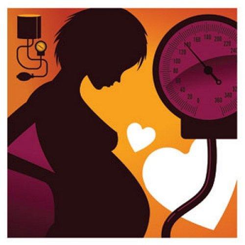 Силуэт беременной женщины и тонометр с показанием 140 мм рт. ст