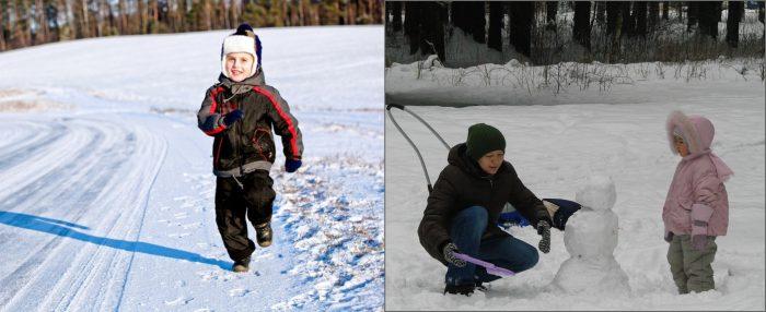 Мальчик бежит по зснежной дороге; девочка спокойно смотрит, как мама лепит снеговика