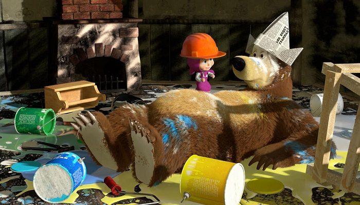 Маша устраивает погром в доме Медведя, когда он делает ремонт