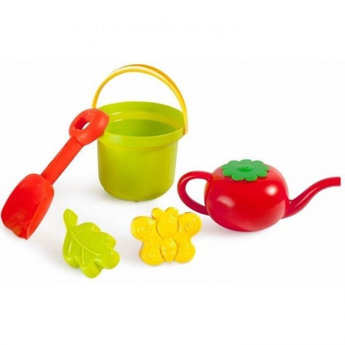 набор для песочницы — ведро, лопата, чайничек, формочки