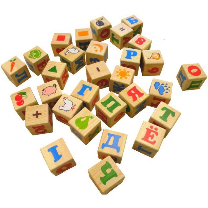 кубики с буквами и картинками