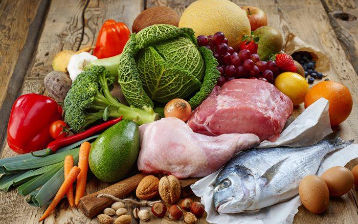 овощи, фрукты, мясо, рыба, орехи
