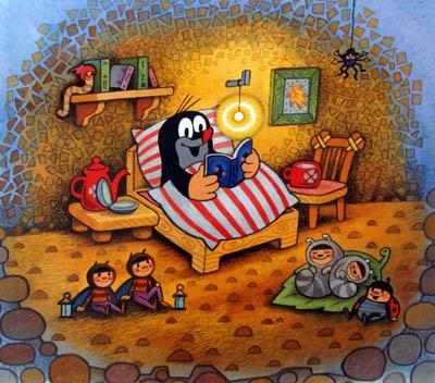 Крот в кровати читает книгу