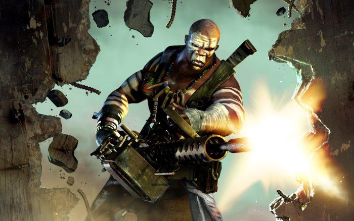 Картинка из компьютерной игры со стреляющим из пулемёта человеком