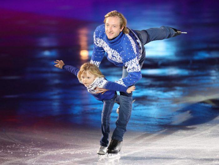 Евгений и Саша Плющенко на льду