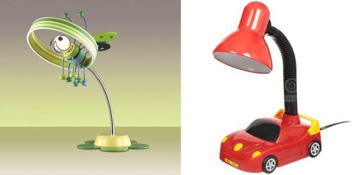Настольные лампы с лампочкой в виде пчелы и с основанием-машинкой