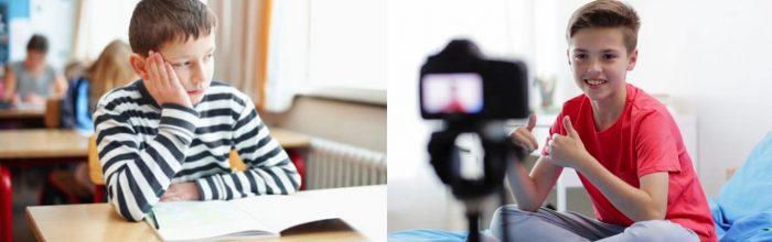 Грустный мальчик сидит на уроке; мальчик улыбается и чувствует себя свободно перед камерой