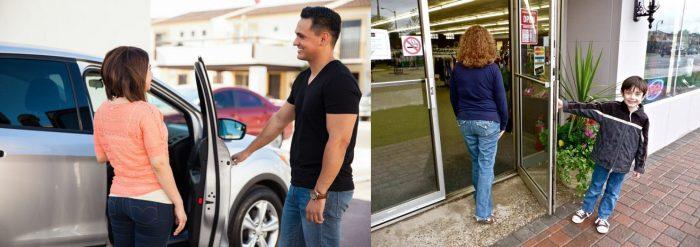 Мужчина открывает женщине дверцу автомобиля; мальчик открывает маме дверь магазина