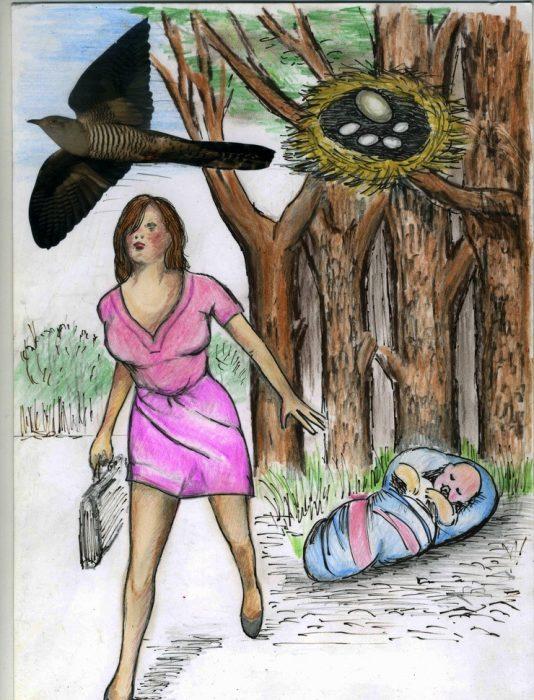 Мать уходит от своего младенца, рядом изображена кукушка, покидающая своё гнездо с яйцами