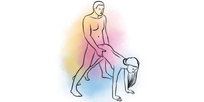 Поза «мужчина сзади» с упором женскими руками об пол