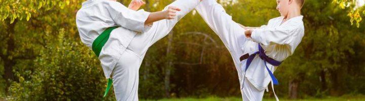 Два мальчика в белых кимоно машут ногами по правилам боевых искусств, стоя босиком на траве
