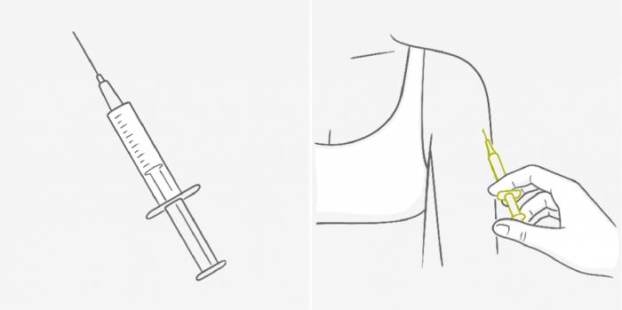 Введение противозачаточного укола в плечо