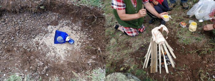 В вырытой ямке лежит шёлковая голубая котомочка; горит костёр в виде шалаша, кругом сидят люди