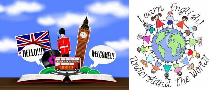 Символы Великобритании; люди разных национальностей стоят по окружности земного шара, держась за руки