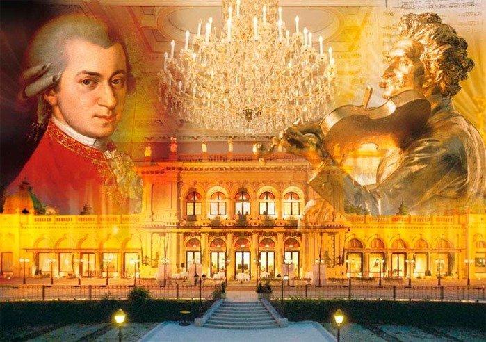 Концертный зал в Вене, вверху изображение Моцарта и Штрауса