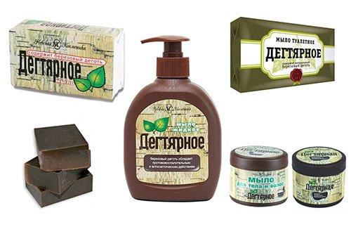 Разные виды мыла на основе берёзового дёгтя