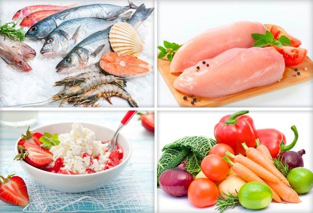 Рыба, куриное филе, творог с клубникой, свежие овощи и фрукты