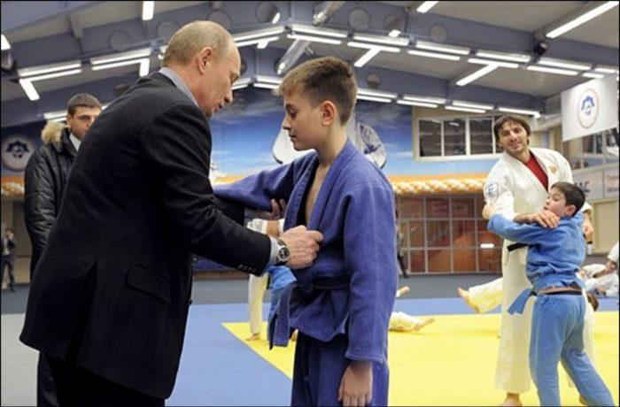 В. Путин на соревнованиях по самбо
