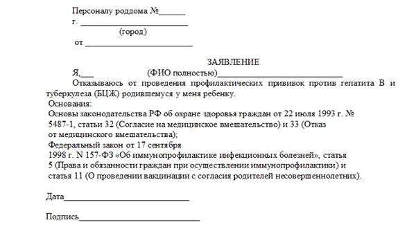 Пример заявления об отказе от прививок в роддоме