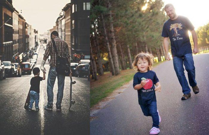 отец и сын занимаются спортом