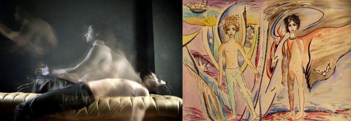 Душа спящего человека покидает тело; близнецы Танатос и Гипноз