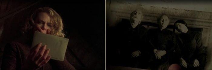 Кадры из фильма Другие (2001) героиня пугается, увидев фотографию, на фотографии запечатлены уже умершие люди