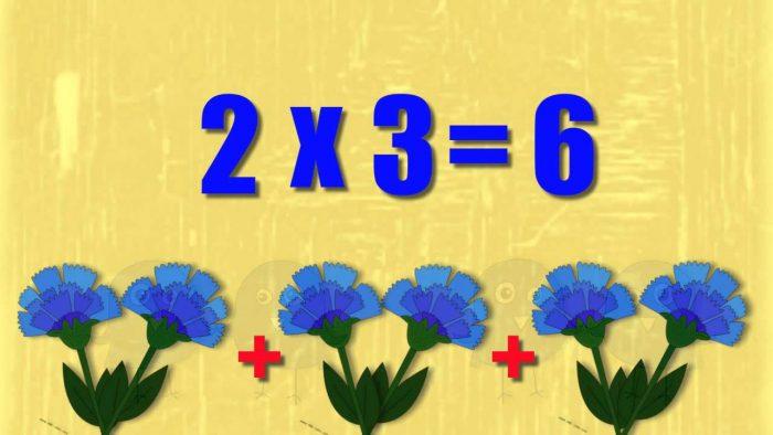 Иллюстрация выражения 2x3 сложением пар цветов