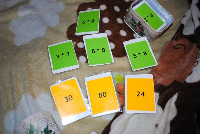 Карточки с выражениями таблицы умножения