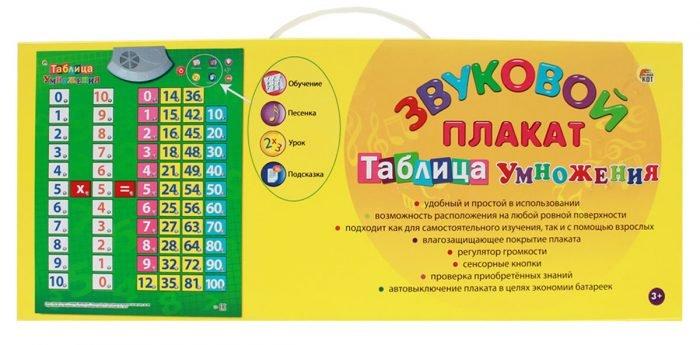 Звуковой плакат с таблицей умножения
