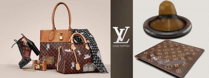Сумка от Louis Vuitton, ботинки, шарфик; рядом презерватив от этого бренда