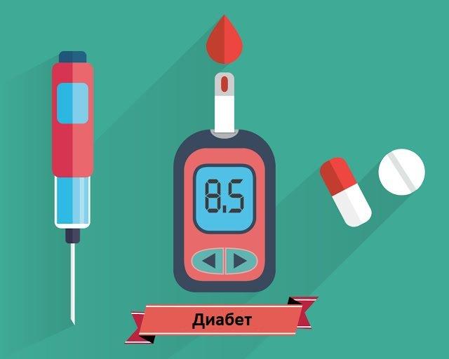 Глюкометр показывает повышенный уровень сахара в крови, рядом таблетки и инсулиновый шприц-ручка