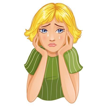 Женщина плачет, подпирая голову руками