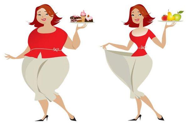 Полная и похудевшая женщина