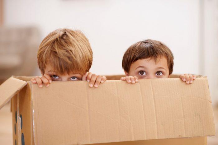 Мальчики прячутся в коробку