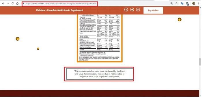 Скриншот с сайта zarbees.com
