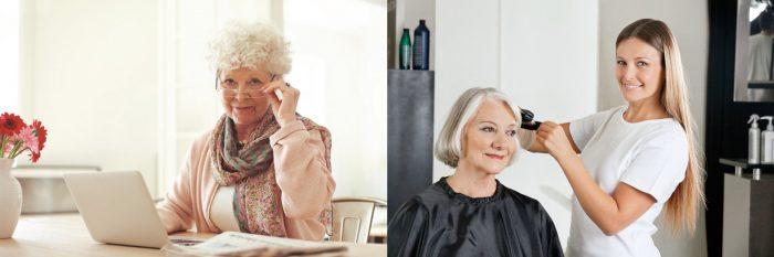 Пожилая женщина в офисе сидит за ноутбуком, у парикмахера
