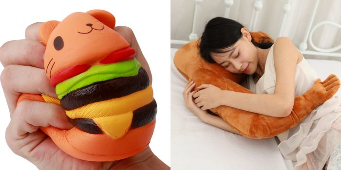 Игрушка-антистресс в руке; девушка обнимает подушку-обнимашку с имитацией человеческой руки