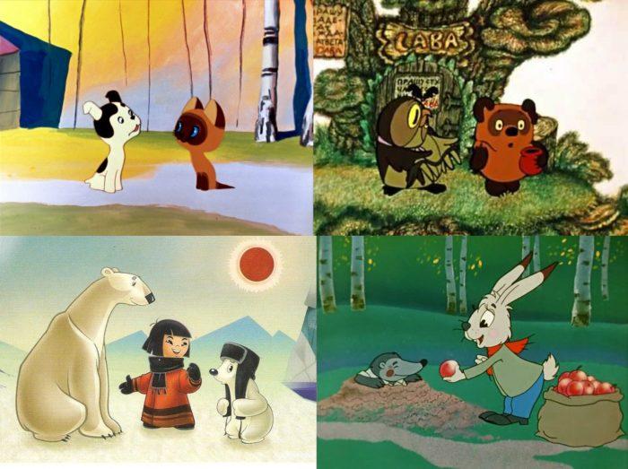 Кадры из советских мультфильмов «Котёнок по имени Гав», «Винни Пух», «Умка», «Мешок яблок»