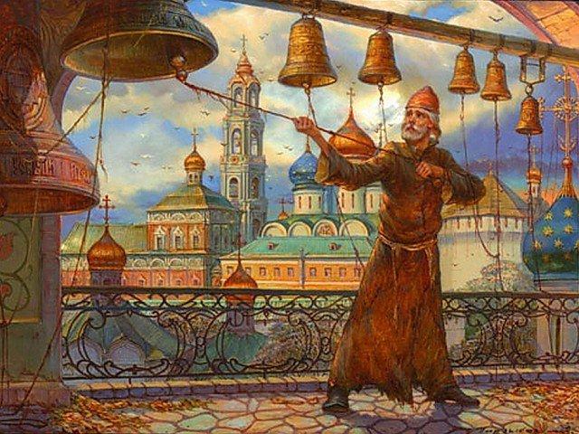 Церковнослужитель звонит в колокола