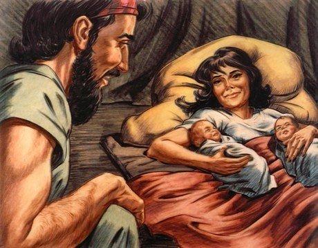 Новорождённые близнецы Исав и Иаков с родителями