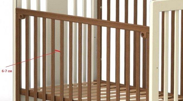 Рейки детской кроватки, между ними обозначено расстояние 6–7 см