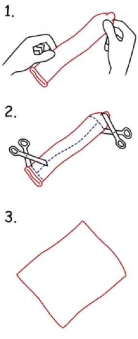Процесс изготовления латексной салфетки из презерватива